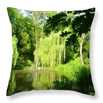 Throw Pillow featuring the photograph Weeping Willow Pond by Lyric Lucas