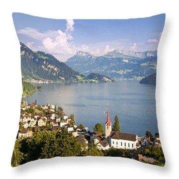 Weggis Switzerland Throw Pillow by Brian Jannsen