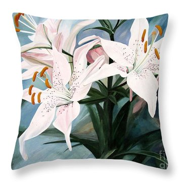 Throw Pillow featuring the painting White Lilies by Laurie Rohner