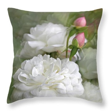 Throw Pillow featuring the photograph White Roses Bouquet by Jennie Marie Schell