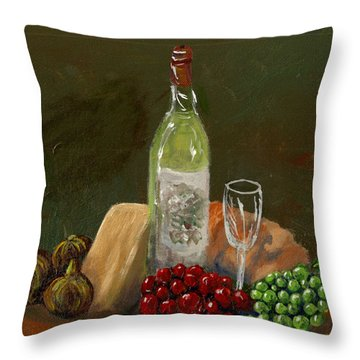 White Wine Throw Pillow