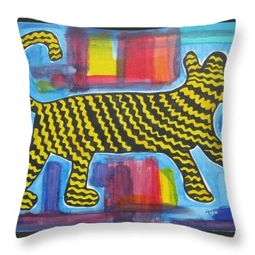Throw Pillow featuring the painting Wild Cat by Diane Pape