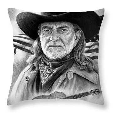 Willie Nelson American Legend Throw Pillow