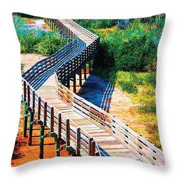 Winding Path In Blue Bloom Throw Pillow