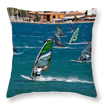 Windsurfing In Vasiliki Bay Throw Pillow