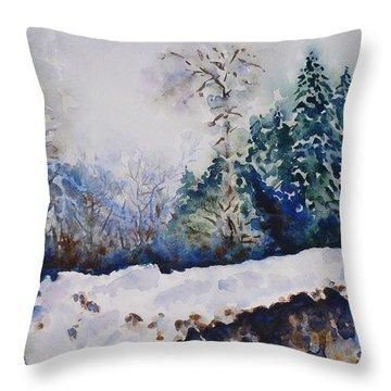 Winter In Dombay Throw Pillow by Zaira Dzhaubaeva