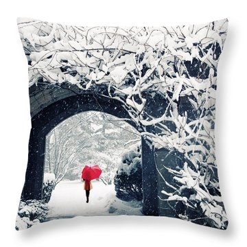 Winter's Lace Throw Pillow by Jessica Jenney