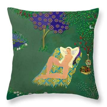 Woman In Garden With Pond Throw Pillow