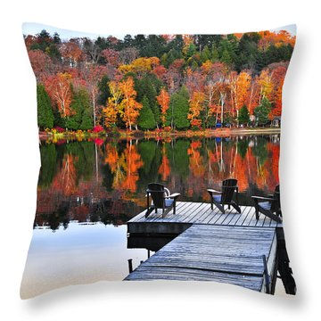 Wooden Dock On Autumn Lake Throw Pillow