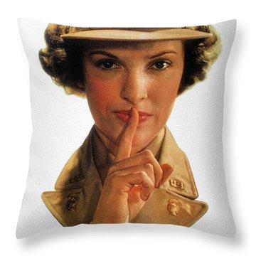 Wwii: Careless Talk Poster Throw Pillow by Granger