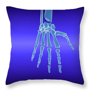 X-ray View Of Human Hand Throw Pillow by Stocktrek Images