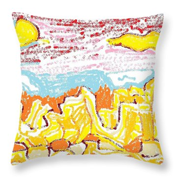 Throw Pillow featuring the drawing Yellow Desert by Don Koester