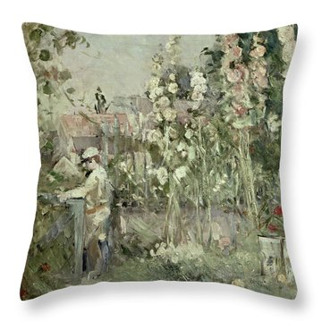 Young Boy In The Hollyhocks Throw Pillow by Berthe Morisot