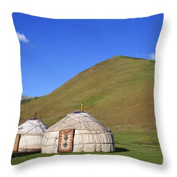 Yurts In The Tash Rabat Valley Of Kyrgyzstan  Throw Pillow by Robert Preston