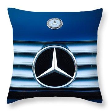 2003 Cl Mercedes Hood Ornament And Emblem Throw Pillow by Jill Reger