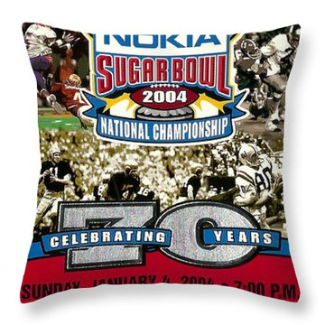 2004 National Championship Ticket - Lsu Vs Oklahoma Throw Pillow by David Patterson