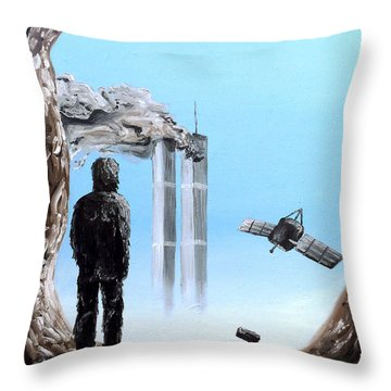 Throw Pillow featuring the painting 2012-confronting Inevitability by Ryan Demaree