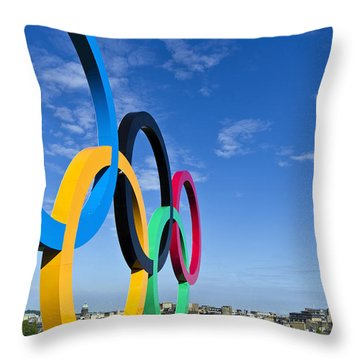 Throw Pillow featuring the photograph 2012 Olympic Rings Over Edinburgh by Ross G Strachan