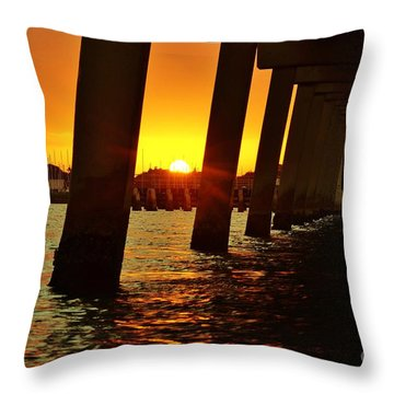 2013 First Sunset Under North Bridge 2 Throw Pillow by Lynda Dawson-Youngclaus