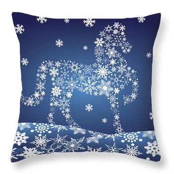 2014 Chinese Horse With Snowflakes Night Winter Scene Throw Pillow