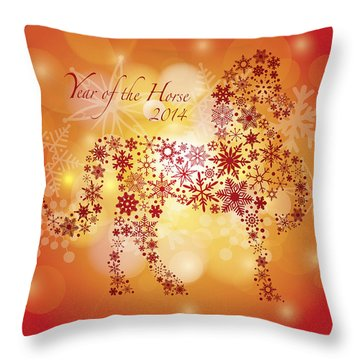 2014 Happy New Year Of The Horse With Snowflakes Pattern Throw Pillow