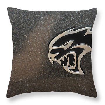 2015 Dodge Challenger Srt Hellcat Emblem Throw Pillow