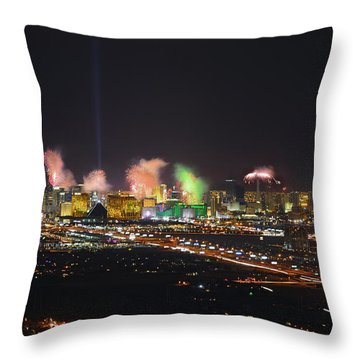 2015 Las Vegas New Years Fireworks Throw Pillow