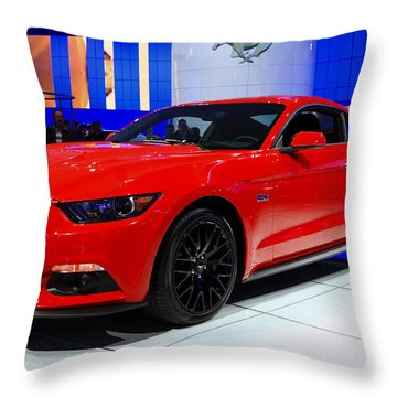 2015 Mustang In Red Throw Pillow