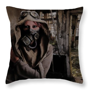 2050 Post Apocalyptic Scene Throw Pillow