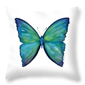 21 Blue Aega Butterfly Throw Pillow