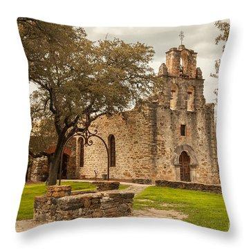 Mission Espada Throw Pillow by Iris Greenwell