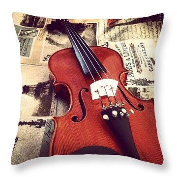 Acoustic Violin Throw Pillow by Sarah Field