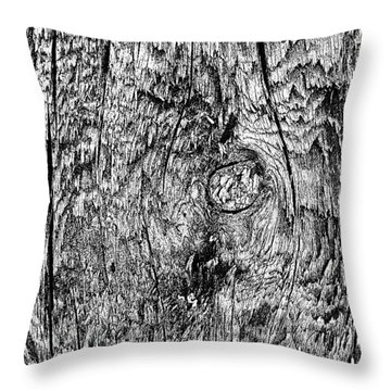Wooden Post B 'n' W Throw Pillow