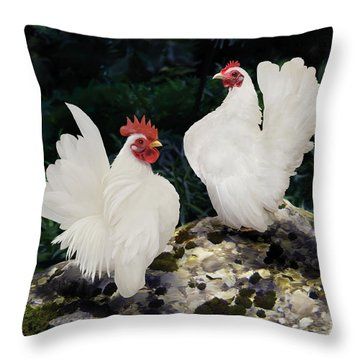 23. Pair White Serama Throw Pillow