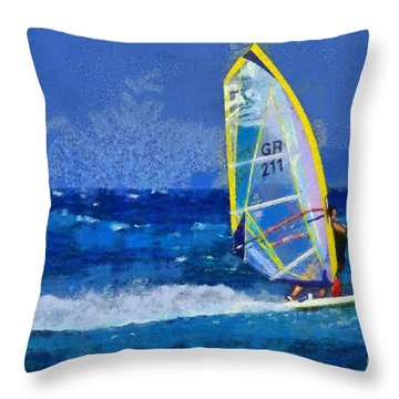 Windsurfing Throw Pillow