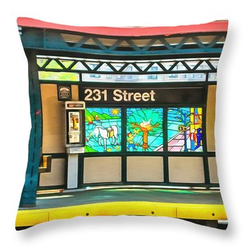 231 Street Subway Throw Pillow by Mick Flynn