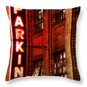 Throw Pillow featuring the photograph 24-hour Garage by Miriam Danar