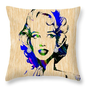 Marilyn Monroe Diamond Earring Collection Throw Pillow by Marvin Blaine