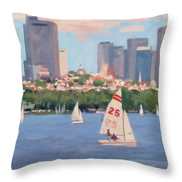 25 On The Charles Throw Pillow by Dianne Panarelli Miller