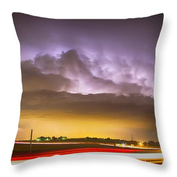 25 To 34 Intra-cloud Lightning Golden Light Car Trails Throw Pillow by James BO  Insogna