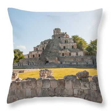 Edzna In Campeche Throw Pillow by Carol Ailles