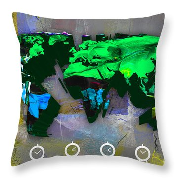 World Map Watercolor Throw Pillow by Marvin Blaine