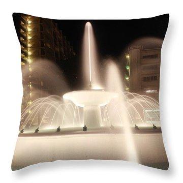 Lights Fountain Throw Pillow