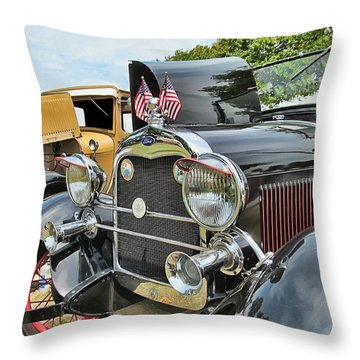 '29 Ford Model A Headlights Throw Pillow by Victor Montgomery