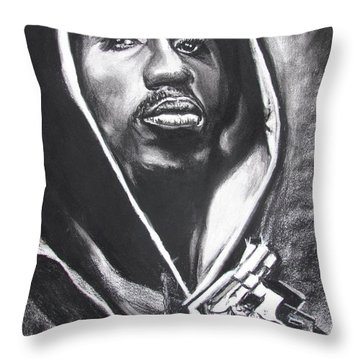 Throw Pillow featuring the drawing 2pac - Thug Life by Eric Dee