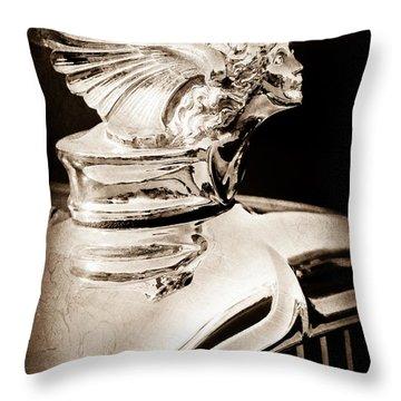 Throw Pillow featuring the photograph 1927 Buick Goddess Hood Ornament by Jill Reger