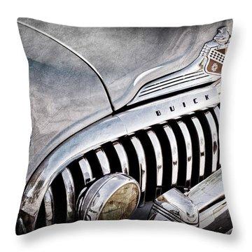 1947 Buick Eight Super Grille Emblem Throw Pillow by Jill Reger