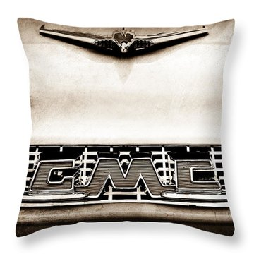 1956 Gmc 100 Deluxe Edition Pickup Truck Hood Ornament - Grille Emblem Throw Pillow
