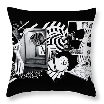Throw Pillow featuring the mixed media 2d Elements In Black And White by Xueling Zou