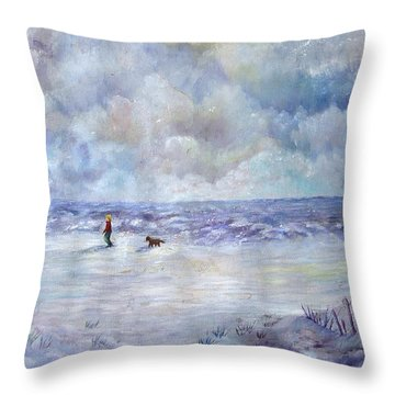 34th St. Beach Throw Pillow by Loretta Luglio